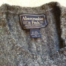 Abercrombie and Fitch Hand Knit Sweater Wool  Mens XL Gray % Nylon  -Retail $299