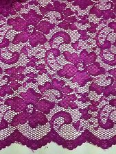 New  Pink Stretch Floral Lace Fabric Double Scalp Border 58""