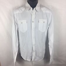 b2ffb659 Zara Man L Large Shirt White Western Long Roll Tab Sleeves Snap Pockets (B9)