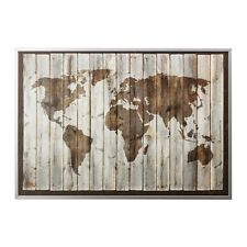 Ikea Bjorksta. Driftwood World Map Canvas 78 3/4 X 55. With Aluminum Frame