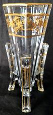"Baccarat Art Deco ""Rocket Vase"" Classy Thick Crystal Heavy Gold Gilding 20's"