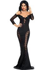 Abito lungo aperto Trasparente Scollo aderente Cerimonia Mermaid Evening Dress S