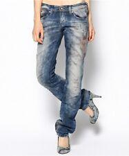 New $348 Lowky Diesel Womens Jeans Reg Straight Low Waist Destroyed 27 x 32