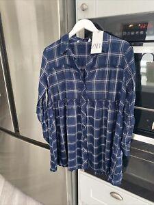 ZARA checked shirt navy blue check pattern Navy Size M Oversized Brand New W Tag