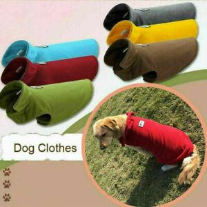 UK Winter Pet Dog Warm Coat Fleece Jacket Jumper Sweater Hoodie Protector Outfit