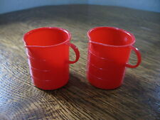 Vintage Collectible Doll-E-Toys by Amsco Red Plastic Graduated Pitchers x2
