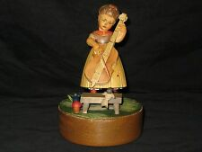 Antique Hand Crafted Wooden Music Box - Girl Playing Cello