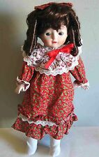 "Porcelain Doll 16"" Holly Brunette Ringlets Pinafore Vintage w Stand Free Sh"