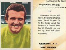 129 tommy lawrence # liverpool. fc sticker fks wonderful world of soccer 1969