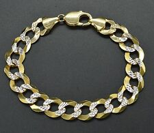 "AS65 Mens 12mm 14k Solid Yellow Gold DiamondCut Curb Chain Bracelet. 8.25"" 27.gr"
