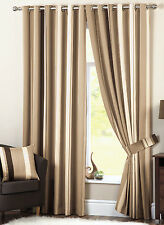 Dreams N Drapes Natural Whitworth Ready Made Stripe Eyelet Ring Top Curtains 66 X 72 Inch