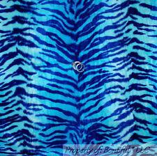 BonEful Fabric FQ Woven Aqua Blue Animal Faux Fur Decor ZEBRA Skin Pattern Print