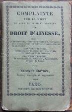 INTROUVABLE Complainte droit d'aînesse 1e écrit attribué à Gérard de NERVAL 1826