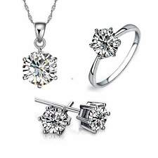 Fashion Women Jewelry Set Silver Plated Rhinestone Necklace Earrings Ring