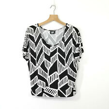 DESERT DESIGNS Jimmy Pike Black and White Stretch Top Shirt Approx Size 10 - 12