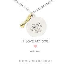 Me encanta mi Perro Plateado Disco Paw Print encantos collar de oro, hueso, Mascotas De Regalo
