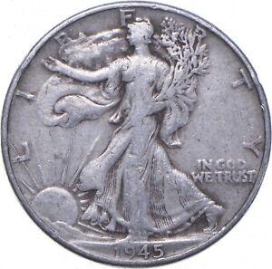 XF+ 1945 Walking Liberty 90% Silver US Half Dollar - NICE COIN *592