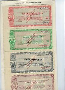 INDIA  PUNJAB NATIONAL BANK  SPECIMENS  OLD TYPE (4)  NEW TYPE 4   IN BANK FOLDE