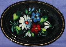 Vintage Russian floral metal tole hand painted plate tray