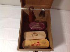 Vintage Antique KIWI Hand Crafted Wooden Shoe Valet Set
