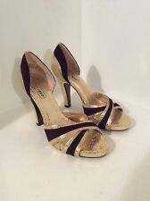 "OH DEER ""Cannon"" Women's Metallic Gold w/Brown Open Toe Platform Heels Size 6M"
