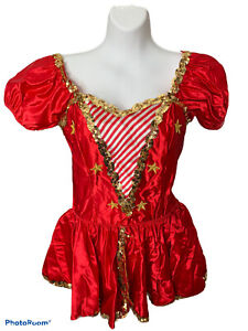 Curtain Call Costume Dance Girl Child 12 A Red Gold Sequin Stars Dress Striped