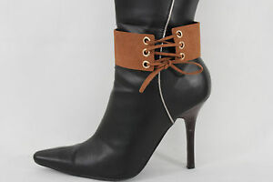 Women Fashion Jewelry Boot Bracelet Corset Style Strap Brown Fabric Shoe Anklet