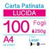 CARTA PATINATA LUCIDA A4 (cm 21x29,7) 250g PER STAMPANTI LASER - 100 FOGLI