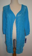 New Peter Nygard Medium Cardigan Top Open Front Blue Turquoise Cotton Linen Wrap