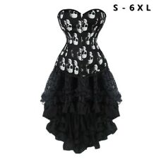 Women Skull Printed Overbust Corset Dress With Black High Low Skirt Plus Size 6X