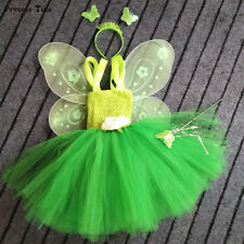 Princess Girl Tinkerbell Magic Fairy Tutu Dress Up W/ wing costume Cosplay gifts
