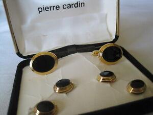Pierre Cardin Oval Cufflinks & Studs, Gold-Tone w/ Onyx, New Old Stock