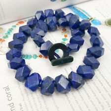 Natural Lapis Lazuli Faceted Hand Cut Beads 12x16mm Toggle Clasp Necklace 19''