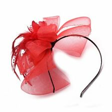 Red Feather Flower Gauze Beads Headband SH