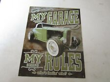 tin metal gasoline service station man cave advertising decor gas oil wife rule
