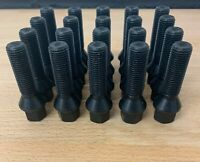 20 x wheel bolts nuts lugs in Black M12 x 1.5, 40mm, 17mm Hex, taper for BMW