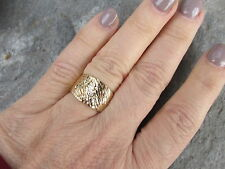 14 KT Yellow Gold Polished Diamond Cut Design Domed Wide Cigar Band Ring NEW