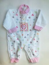 Girl's Size 6M 3-6 Months One Piece White Velour Heart Designed Pants Romper