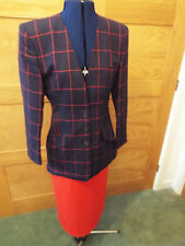 AUSTIN REED NAVY AND RED CHECK WOOL JACKET (SIZE 6) AND RED WOOL SKIRT (SIZE 8)