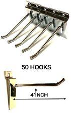50 PCS 4'' INCH SLATWALL SLAT BOARD HOOKS ACCESSORY SINGLE SHOP RETAIL DISPLAY