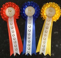 2 Tier 1st - 3rd Horse Show Rosettes with Printed Tail *FREE 1st CLASS POST*