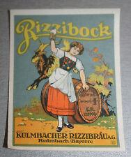 uraltes Vorkrieg Bieretikett BE VK Kulmbacher Rizzibräu Kulmbach Rizzibock