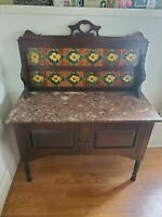 Antique Marble Top Dry Sink With Rare Tile Back Flaw- Beautiful Condition.