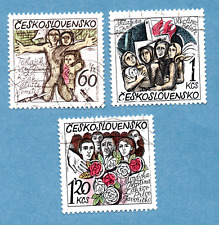 CZECHOSLOVAKIA stamps, 1975, 30th Anniv of Razing of 14 Villages, 3 stamps