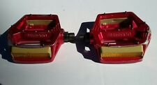 Vintage 1982 OG Red SHIMANO DX 9/16 Old School BMX Racing Pedals NOMURA REDLINE