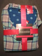 Joe Boxer women flannel pajama set - 2pc 1X sz turquoise grey plaid  NWT