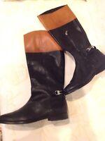 Ralph Lauren Berna Women's Leather Knee High Tan & Black Riding Boots Size 9.5B