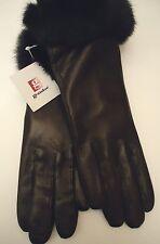 Ladies Grandoe Fur Cuffed Genuine Leather Gloves,Black, Large