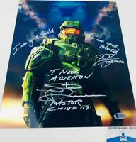 Steve Downes Jen Taylor DUAL signed Master Chief Cortana 11x14 photo BAS H32432