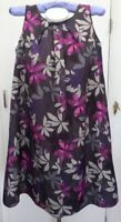 BNWT New Rrp £95 Laura Ashley Grey Purple Pink Floral Loose Smock Mini Dress 10